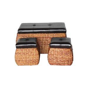 3 Piece Wicker Trunk and Ottoman Set b..