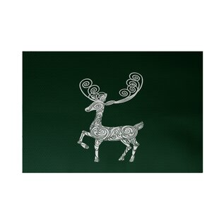 Inexpensive Deer Crossing Decorative Holiday Print Dark Green Indoor/Outdoor Area Rug By The Holiday Aisle