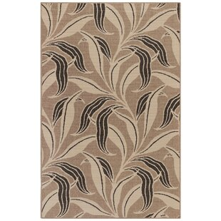 Mario Leaf Neutral Gray/Black Indoor/Outdoor Area Rug