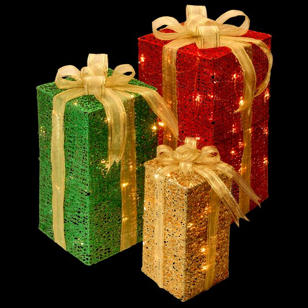 National Tree Co 3 Piece Sisal Gift Box Lighted Display Reviews Wayfair