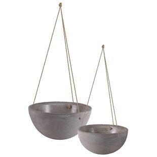 Mayville Round Rope Hanger 4 Piece Cement Pot Planter Set