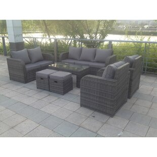 Arnold 9 Seater Rattan Sofa Set With Cushions By Kampen Living