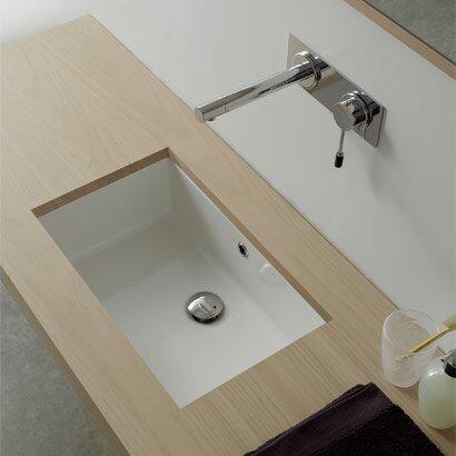 Miky Ceramic Rectangular Undermount Bathroom Sink With Overflow