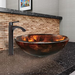 Reviews Fusion Glass Circular Vessel Bathroom Sink with Faucet By VIGO