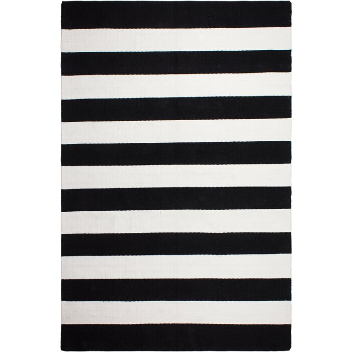 Gillette Striped Hand Knotted Black Area Rug