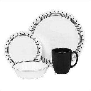 Livingware City Block 16 Piece Dinnerware Set Service for 4  sc 1 st  Wayfair & Black Dinnerware Sets You\u0027ll Love