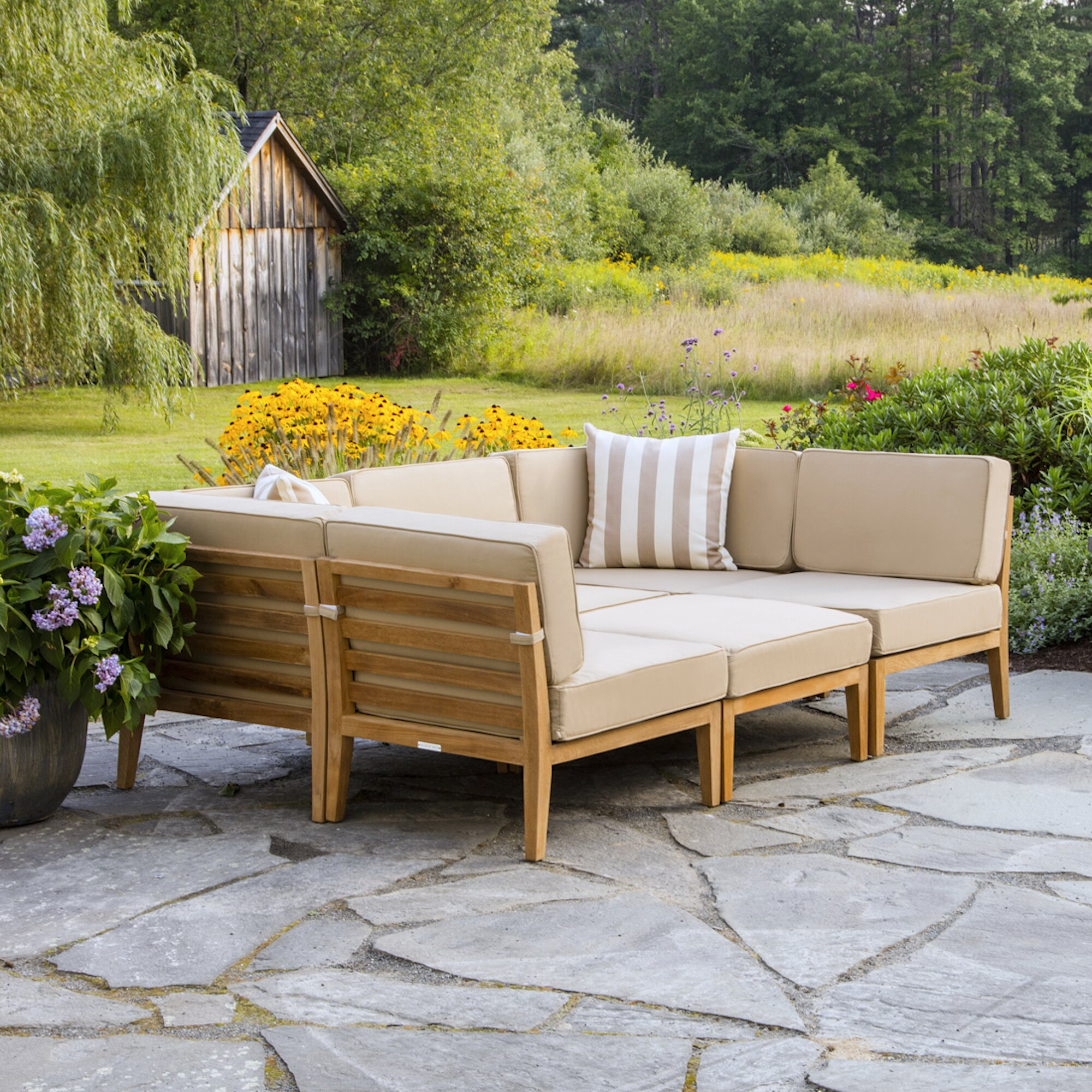 Bali Teak Patio Sectional With Cushions Allmodern