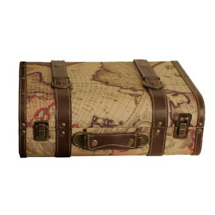 Charlton Home Digregorio Map Faux Leather Accent Trunk