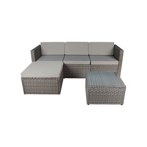 Outdoor Small 3 Piece Sectional Seating Group With Sunbrella Cushion