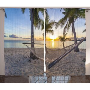 Tropical Paradise Beach with Hammock and Coconut Palm Trees Horizon Coast Vacation Scenery Graphic Print & Text Semi-Sheer Rod Pocket Curtain Panels (Set of 2)