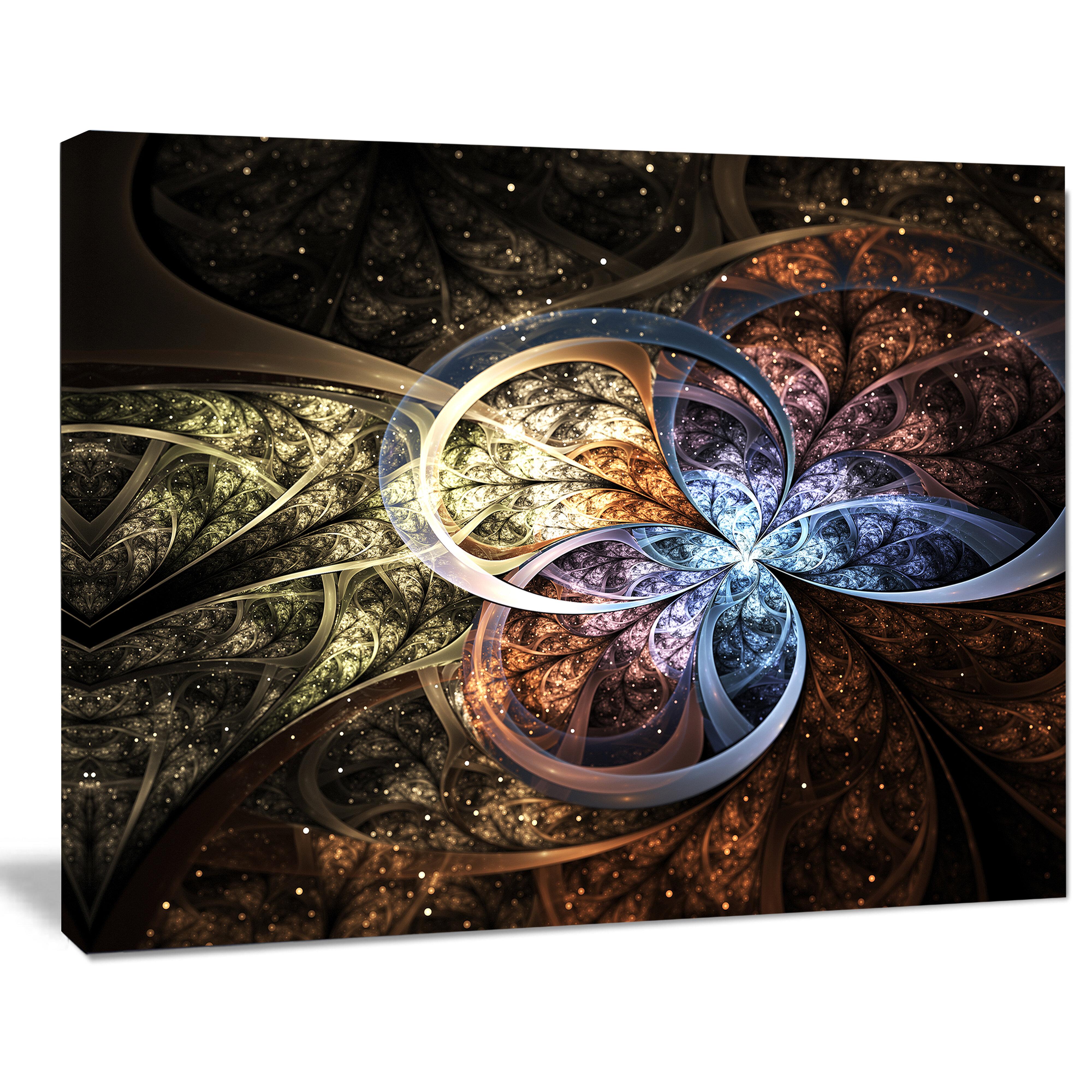 Designart Dark Brown Fractal Flower Graphic Art On Wrapped Canvas Wayfair