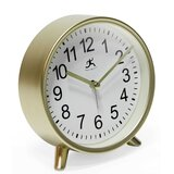 Modern and Contemporary Analog Quartz Alarm Tabletop Clock in Gold by Infinity Instruments
