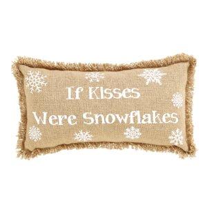 Snowflake Burlap If Kisses..Snowflakes Cotton Lumbar Pillow