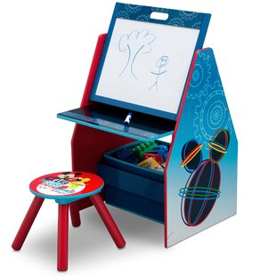 Great Price Disney Mickey Mouse Activity Center Easel Art Desk with Stool and Toy Organizer By Delta Children