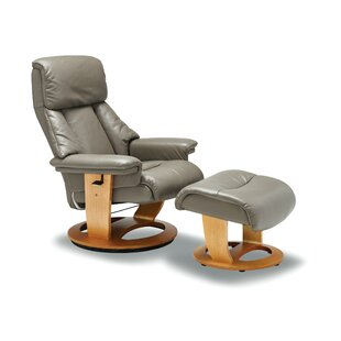 Latitude Run Larkins Leather Manual Recliner with Ottoman