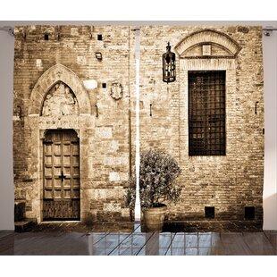 Elegant Doorway Decor Graphic Print Room Darkening Rod Pocket Curtain Panels (Set  Of 2)