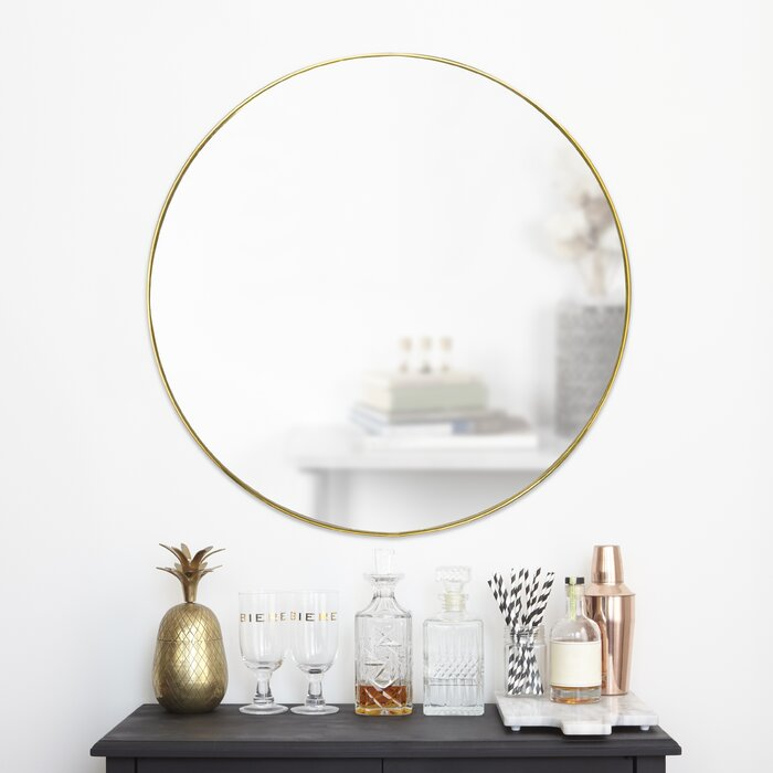 Modern Large Metal Wall Art With Attached Circle Mirrors