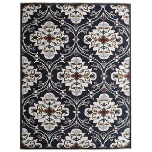 Creamer Sumak Floral Hand Knotted Wool Black White Area Rug