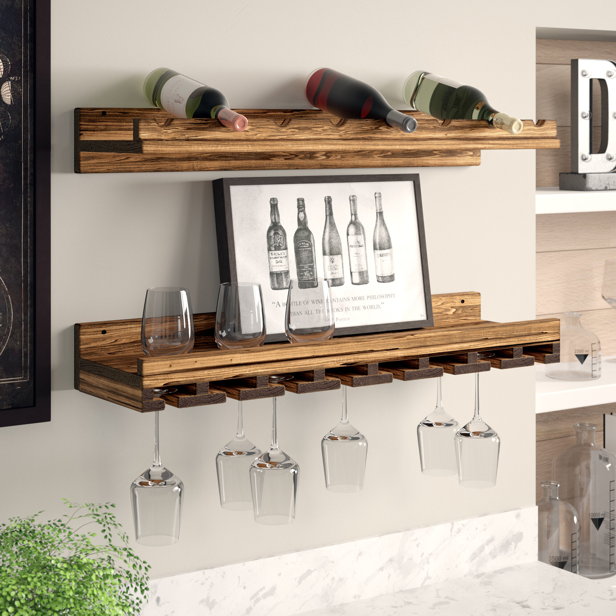Trent Austin Design Berlyn Solid Wood Wall Mounted Wine Bottle Glass Rack Reviews Wayfair