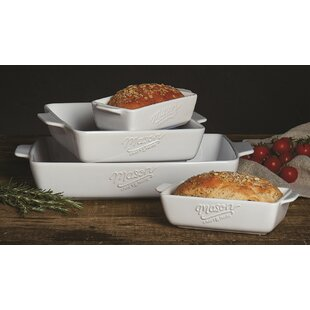 Stoneware Hand-painted Lasagna Pan,12.5 x 7.5 Inch and 9 x 5 Inch Banquet and Daily Use Baking Pans for Cooking,Cake dinner Kitchen 2-piece Ceramics Rectangular Baking Dish Set