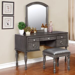 vanity desk with mirror and drawers.  Makeup Tables and Vanities You ll Love Wayfair