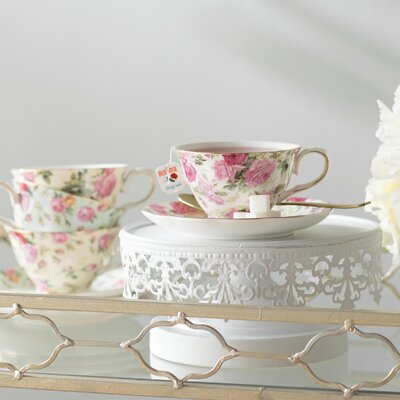 Ilian 8 oz. Porcelain Rose Chintz 4 Piece Tea Cup and Saucer Assorted Set Lark Manor
