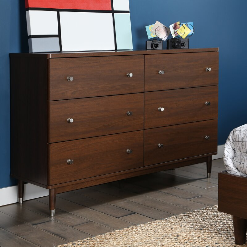 Olly Mid Century Modern 6 Drawer Double Dresser