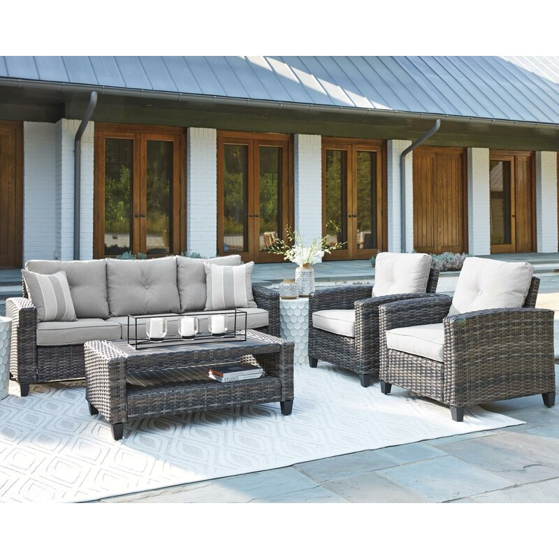 Bay Isle Home Ludowici 4 Piece Rattan Sofa Seating Group with