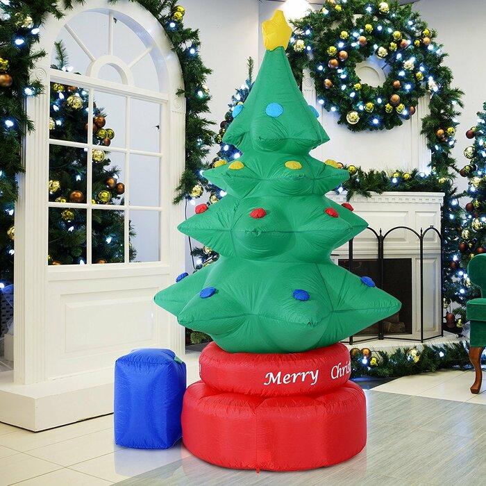 Inflatable Christmas Tree.Electric Rotating Inflatable Xmas Tree
