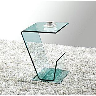 Aryan Bent Glass End Table by Orren Ellis