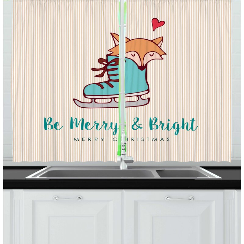 East Urban Home 2 Piece Christmas Merry Calligraphy With Little Fox In Ice Skate Boot Heart On Stripes Kitchen Curtain Set Wayfair