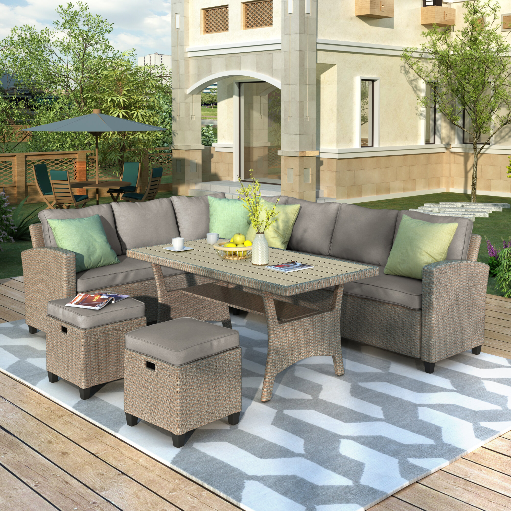 Latitude Run 5 Piece Rattan Sectional Seating Group With Cushions Wayfair