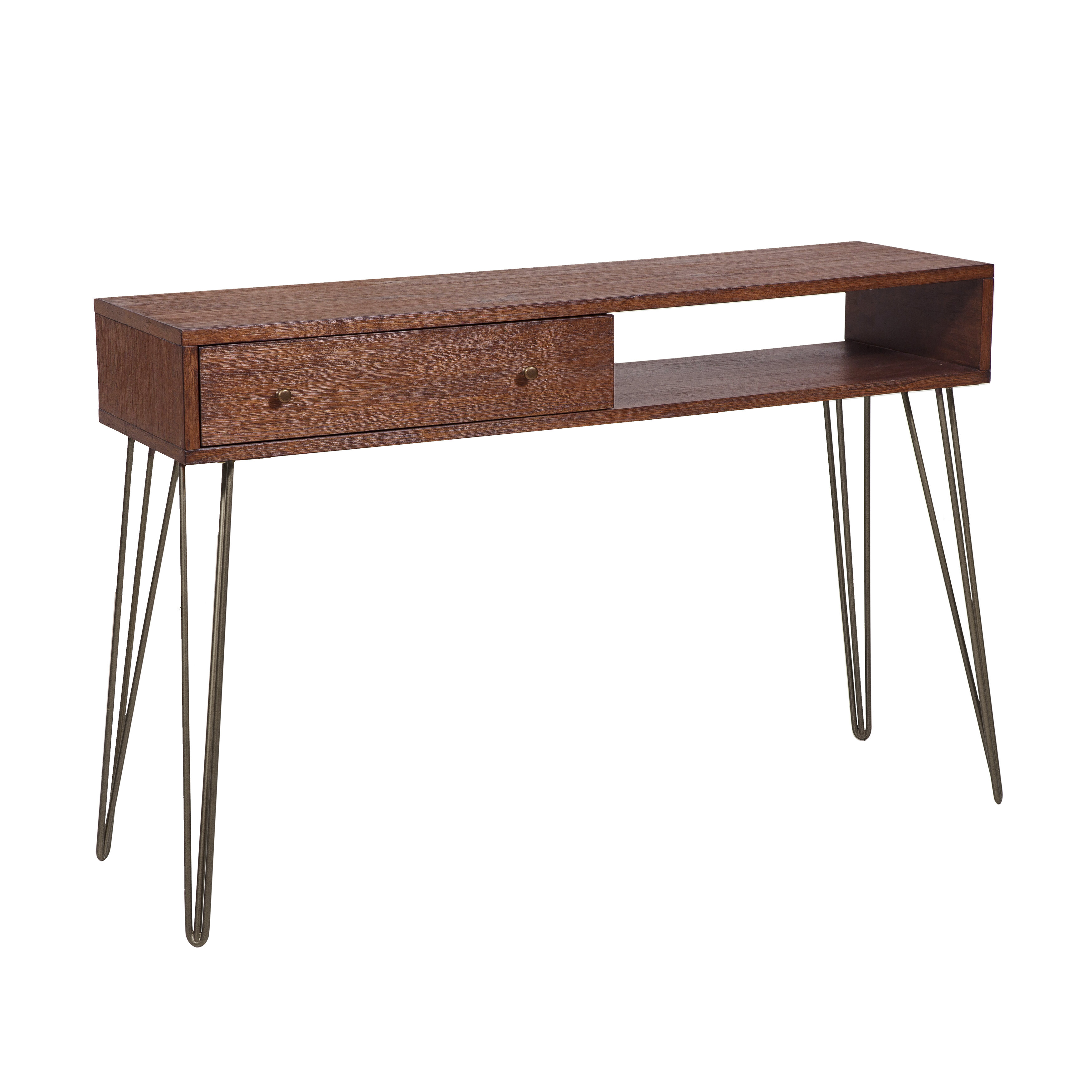 Picture of: Union Rustic Larock Mid Century 1 Drawer Storage Console Table Reviews Wayfair