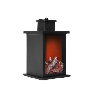 Vintage Flame Black Batterry Powered LED Outdoor Lantern By JML