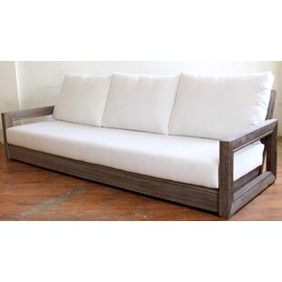 Brayden Studio Constance Teak Outdoor Patio Sofa with Cushions