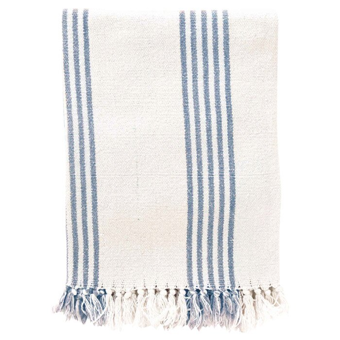 French Blue Stripe Cotton Throw #FrenchBlue #Stripethrow #FrenchCountry