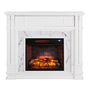 Alcott Hill Chesterbrook Faux Cararra Marble Infrared Media Wall Mount Electric Fireplace Image