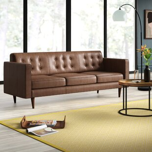 Compare prices Louane Mid Century Modern Leather Sofa by Mercury Row Reviews (2019) & Buyer's Guide