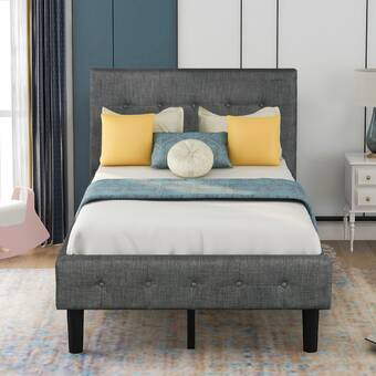 Latitude Run Dayani Twin Tufted Solid Wood And Upholstered Low Profile Platform Bed Wayfair