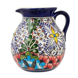 Stars and Flowers Ceramic 131 oz. Pitcher