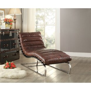 17 Stories Lockman Top Grain Leather Chaise Lounge