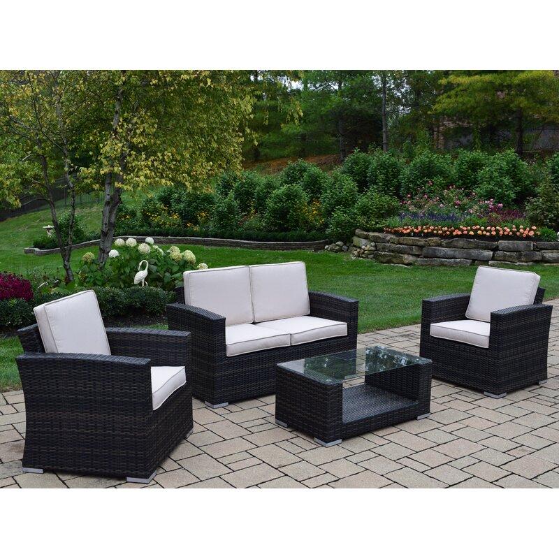 Oakland Living Borneo 4 Piece Sofa Set With Cushions Wayfair