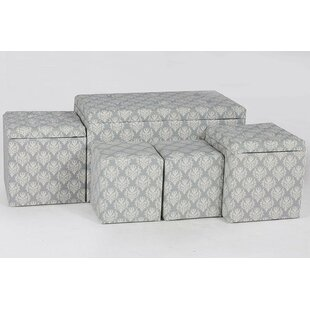 Hailee 5 Piece Cloth Tufted Storage Ottoman Set by Alcott Hill