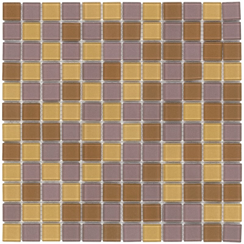 Mosaictileoutlet Stacked Squares Frosted 1 X 1 Glass Mosaic Tile In Orange Purple Wayfair