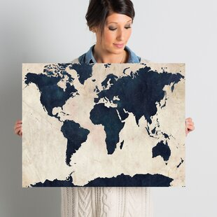 World map wall art world map navy framed graphic art print on canvas gumiabroncs Choice Image