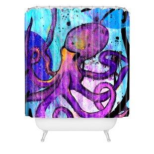 Sophia Buddenhagen Purple Octopus Single Shower Curtain