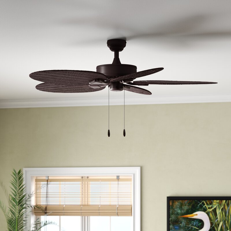 """Outdoor//Indoor 48/"""" Patio Ceiling Fan Outside Iron Light Kit Unique Palm Leaf"""