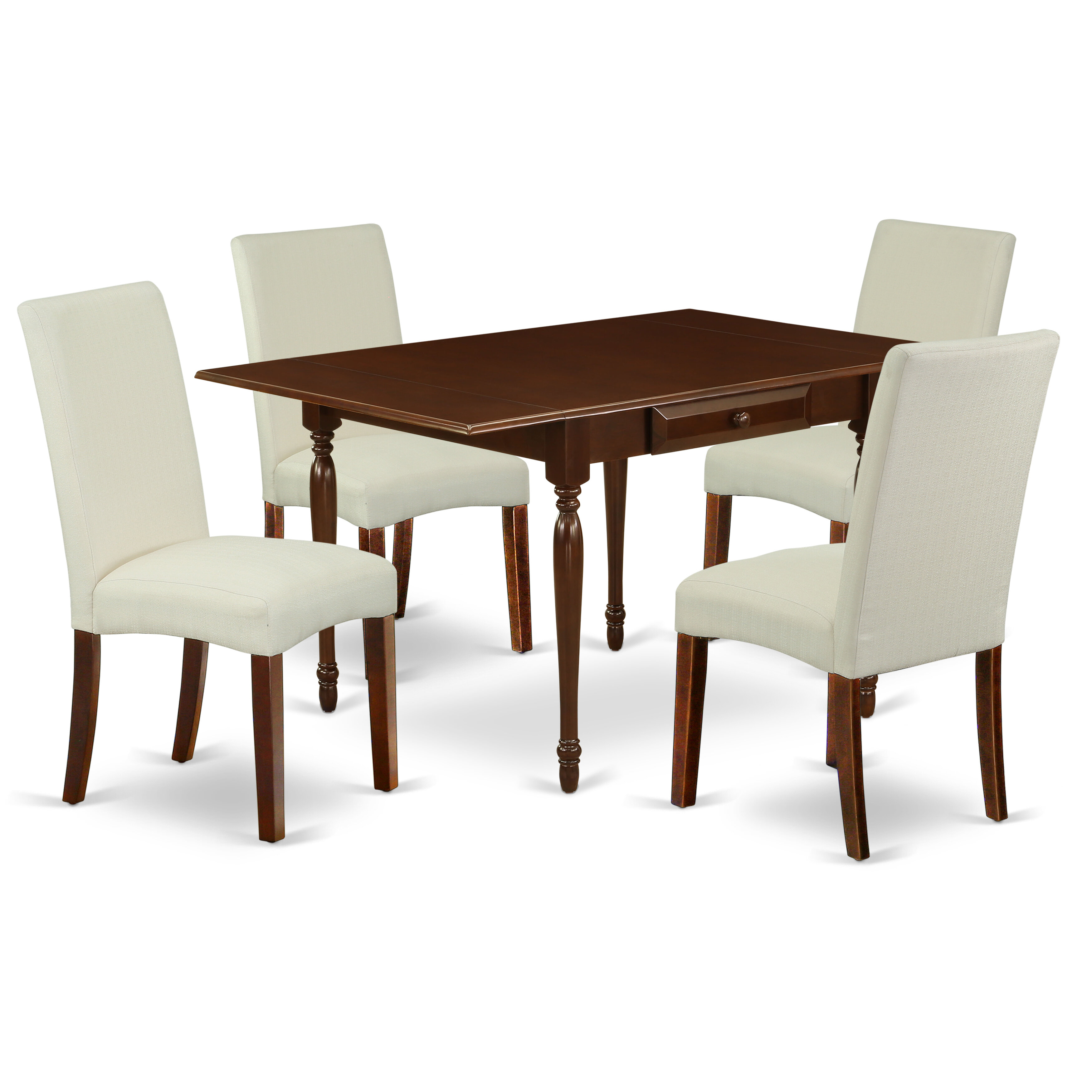 12Pc Kitchen Table Set Consists Of A Small Kitchen Table And 12 Parsons  Chairs With Dark Khaki Colour Linen Fabric, Drop Leaf Table With Full Back
