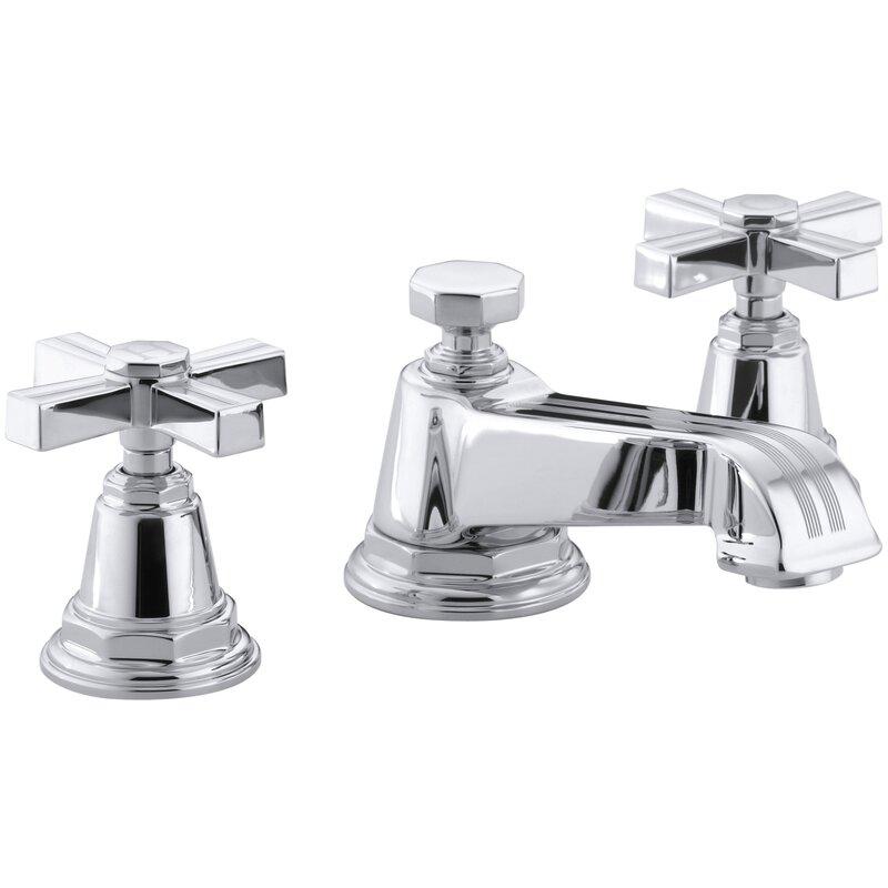 K-13132-3B-BN,CP,SN Kohler Pinstripe Widespread Bathroom Sink Faucet ...