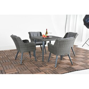 Bungalow Rose Matthias 5 Piece Dining Set with Cushions